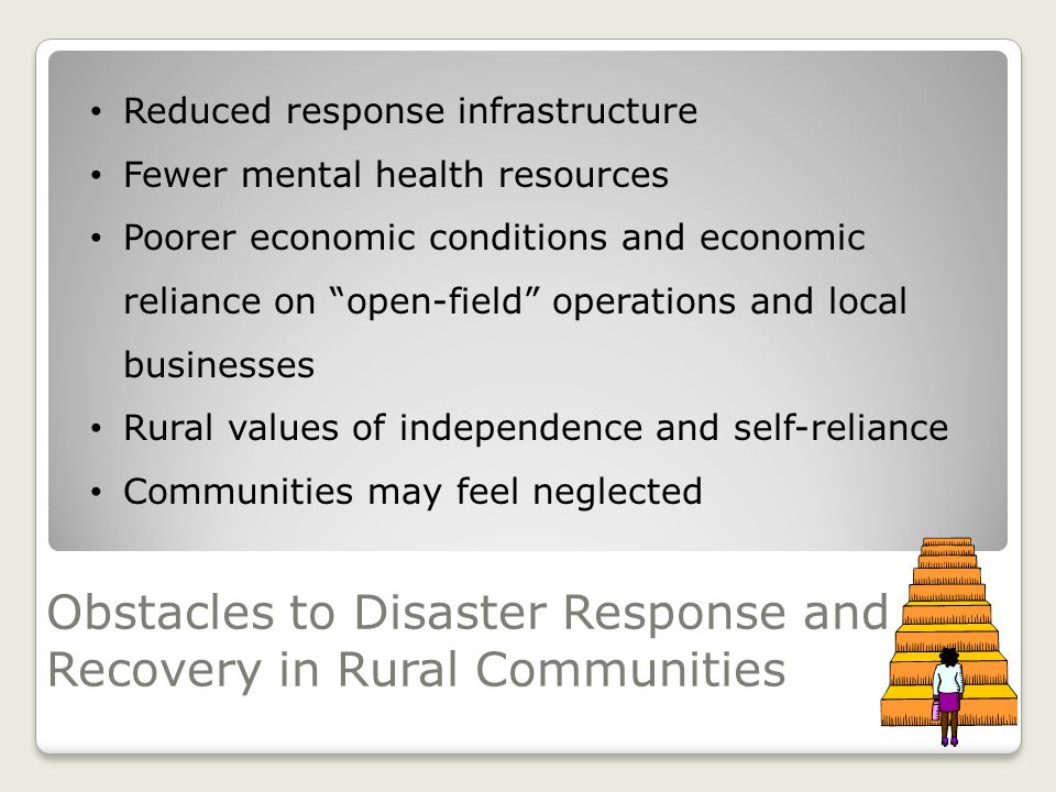 Obstacles to Disaster Response and Recovery in Rural Communities Reduced response infrastructure Fewer mental health resources Poorer economic conditions and economic reliance on open-field operations and local businesses Rural values of independence and self-reliance Communities may feel neglected