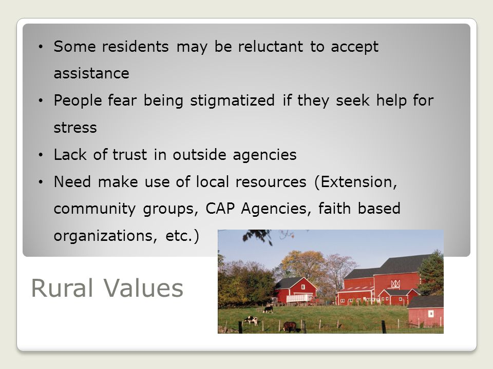 Rural Values Some residents may be reluctant to accept assistance People fear being stigmatized if they seek help for stress Lack of trust in outside agencies Need make use of local resources (Extension, community groups, CAP Agencies, faith based organizations, etc.)