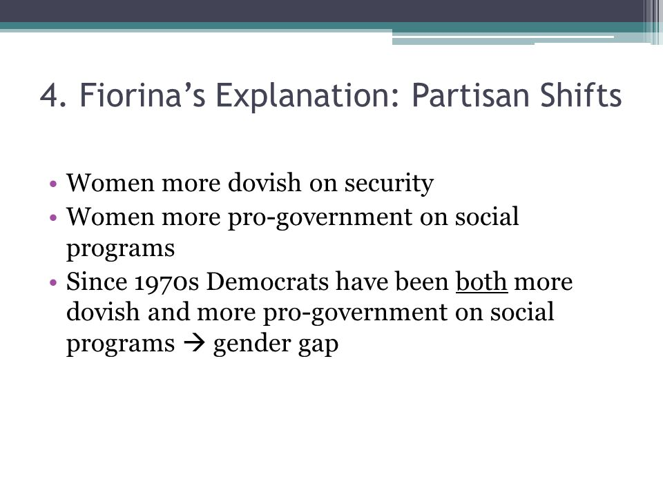4. Fiorina's Explanation: Partisan Shifts Women more dovish on security Women more pro-government on social programs Since 1970s Democrats have been b