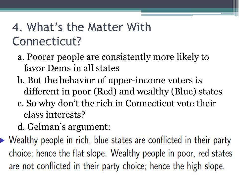 4. What's the Matter With Connecticut. a.