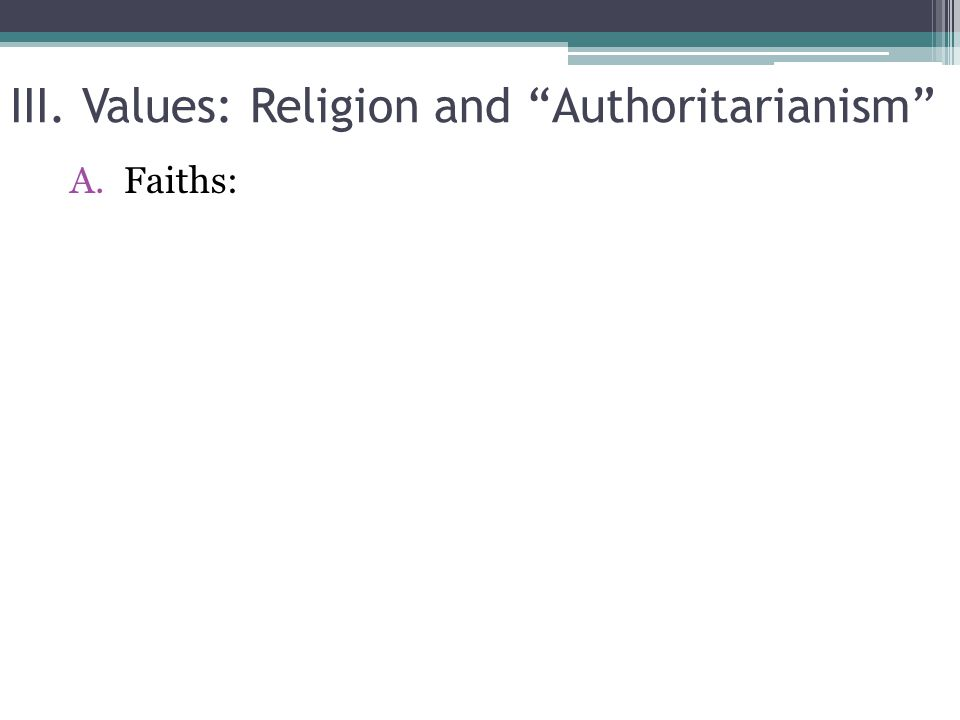 III. Values: Religion and Authoritarianism A.Faiths:
