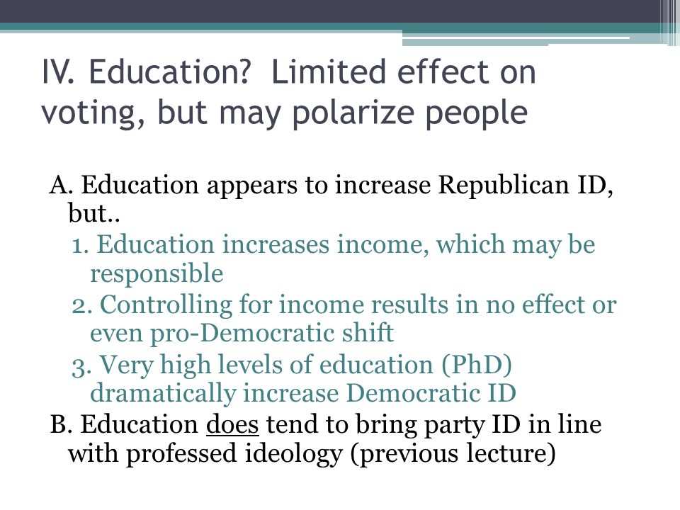 IV. Education. Limited effect on voting, but may polarize people A.