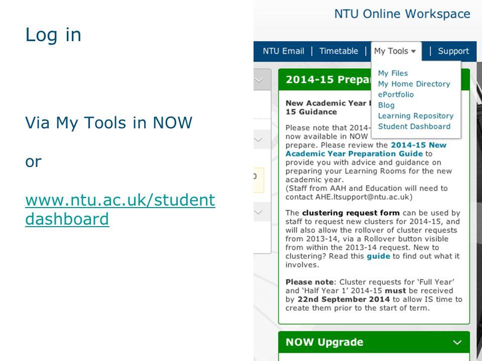 Log in Via My Tools in NOW or www.ntu.ac.uk/student dashboard www.ntu.ac.uk/student dashboard