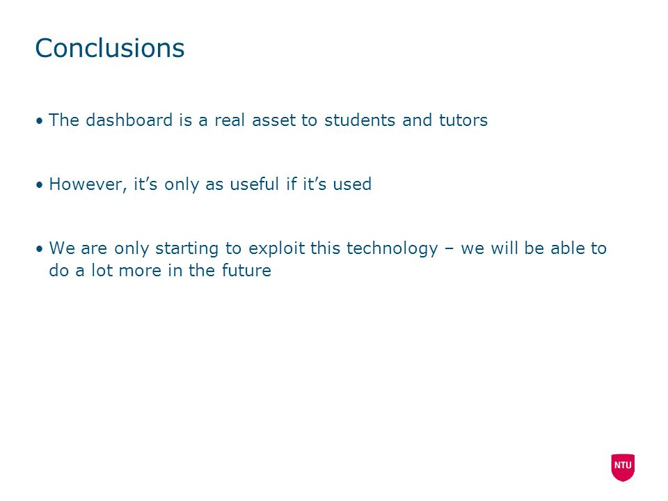 Conclusions The dashboard is a real asset to students and tutors However, it's only as useful if it's used We are only starting to exploit this techno
