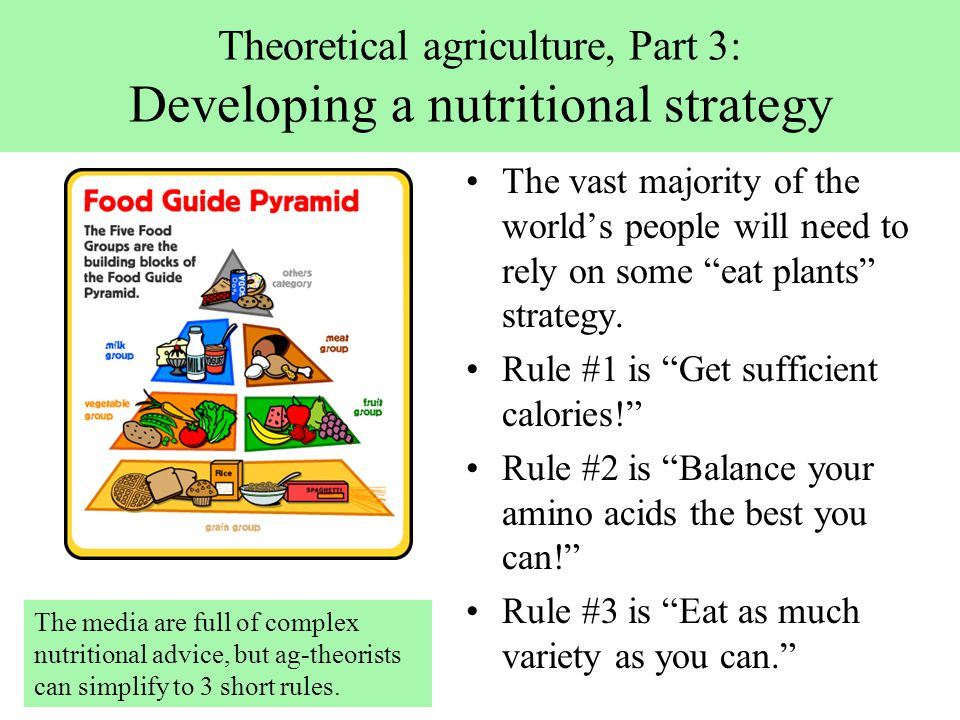 Theoretical agriculture, Part 3: Developing a nutritional strategy The vast majority of the world's people will need to rely on some eat plants strategy.