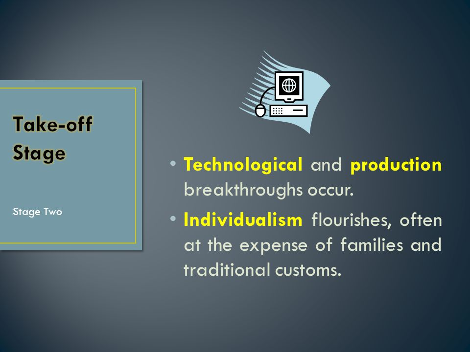 Technological and production breakthroughs occur. Individualism flourishes, often at the expense of families and traditional customs. Stage Two