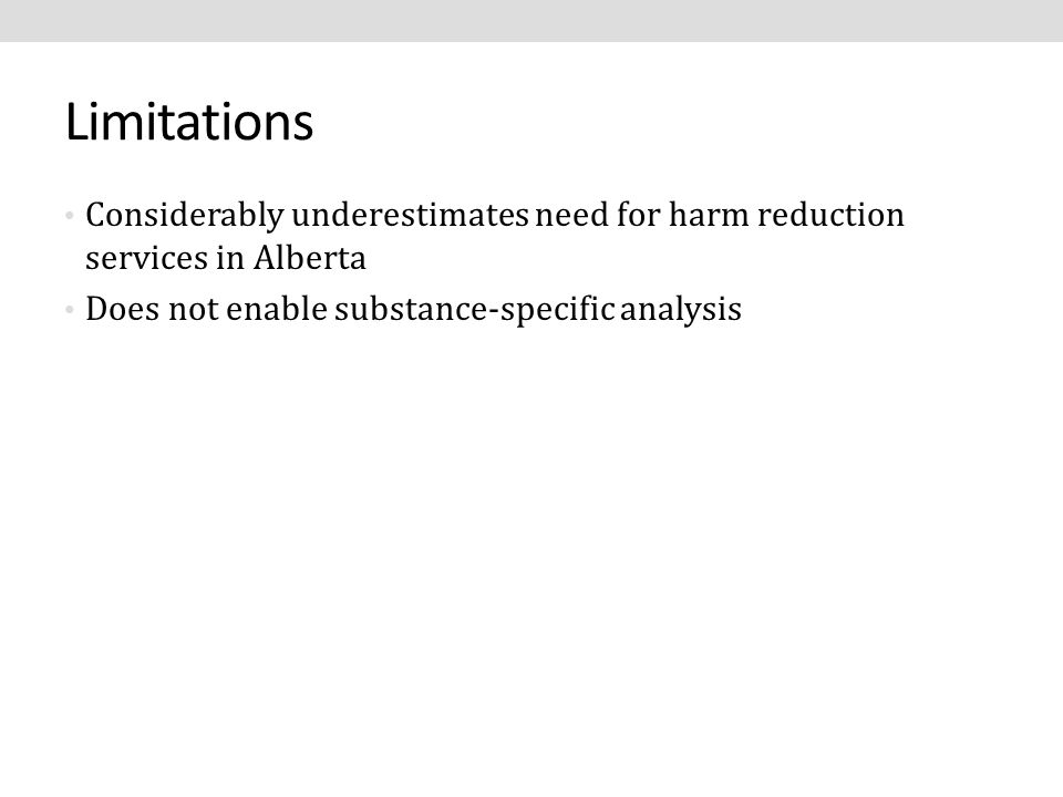 Limitations Considerably underestimates need for harm reduction services in Alberta Does not enable substance-specific analysis