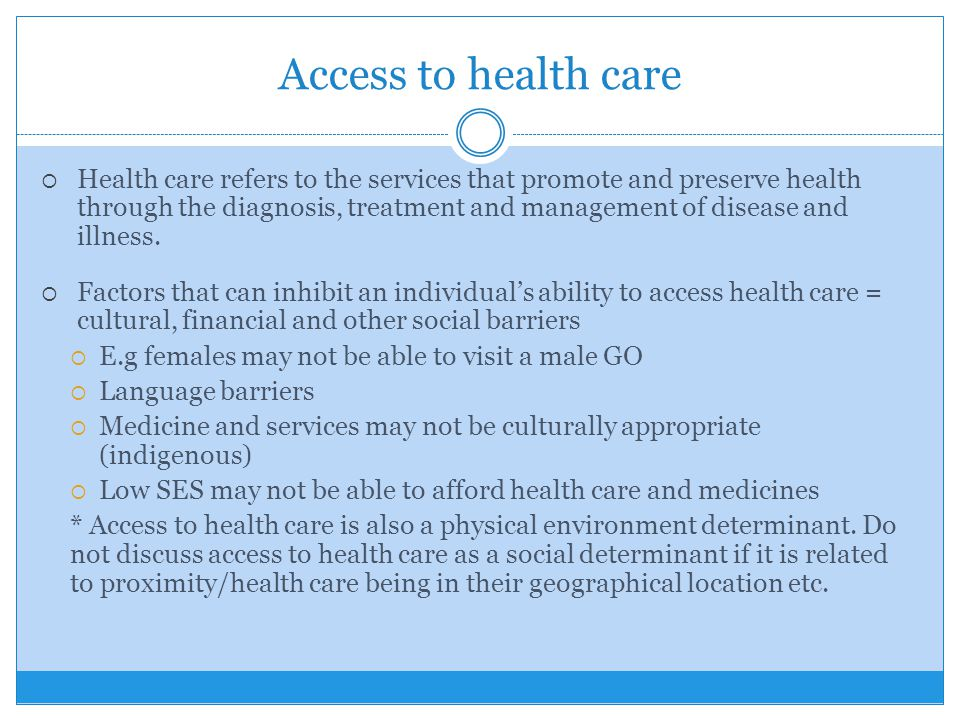 Access to health care  Health care refers to the services that promote and preserve health through the diagnosis, treatment and management of disease