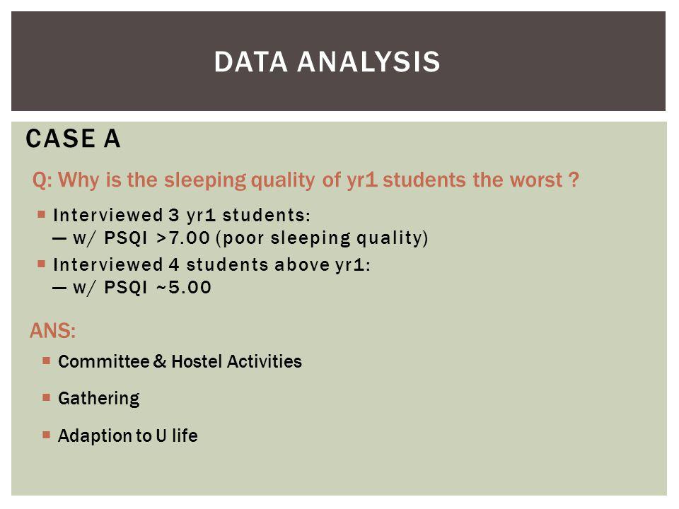  Interviewed 3 yr1 students: — w/ PSQI >7.00 (poor sleeping quality)  Interviewed 4 students above yr1: — w/ PSQI ~5.00 CASE A ANS:  Committee & Ho