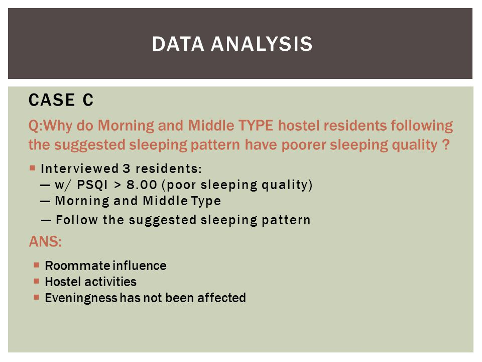  Interviewed 3 residents: — w/ PSQI > 8.00 (poor sleeping quality) — Morning and Middle Type — Follow the suggested sleeping pattern CASE C  Roommate influence  Hostel activities  Eveningness has not been affected ANS: DATA ANALYSIS Q:Why do Morning and Middle TYPE hostel residents following the suggested sleeping pattern have poorer sleeping quality