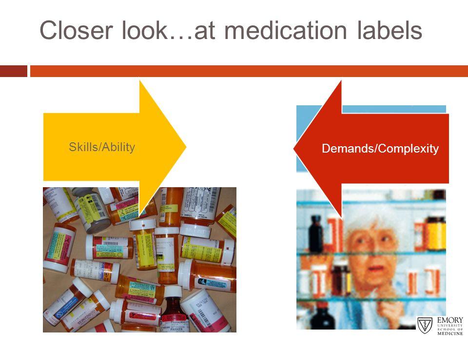 Closer look…at medication labels Skills/Ability Demands/Complexity