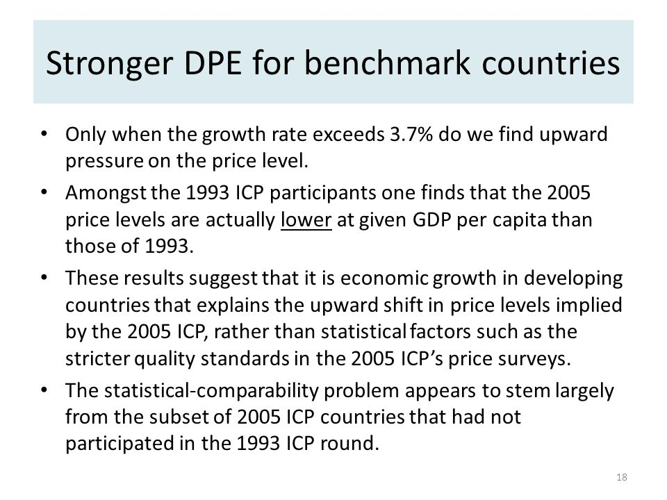 Stronger DPE for benchmark countries Only when the growth rate exceeds 3.7% do we find upward pressure on the price level.