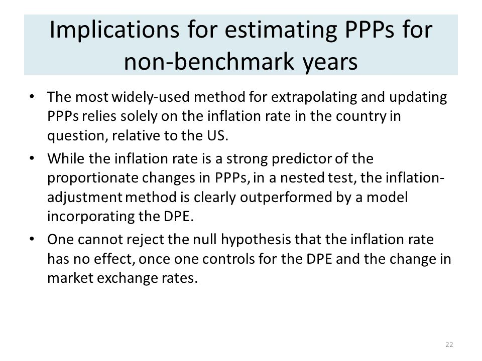 Implications for estimating PPPs for non-benchmark years The most widely-used method for extrapolating and updating PPPs relies solely on the inflation rate in the country in question, relative to the US.