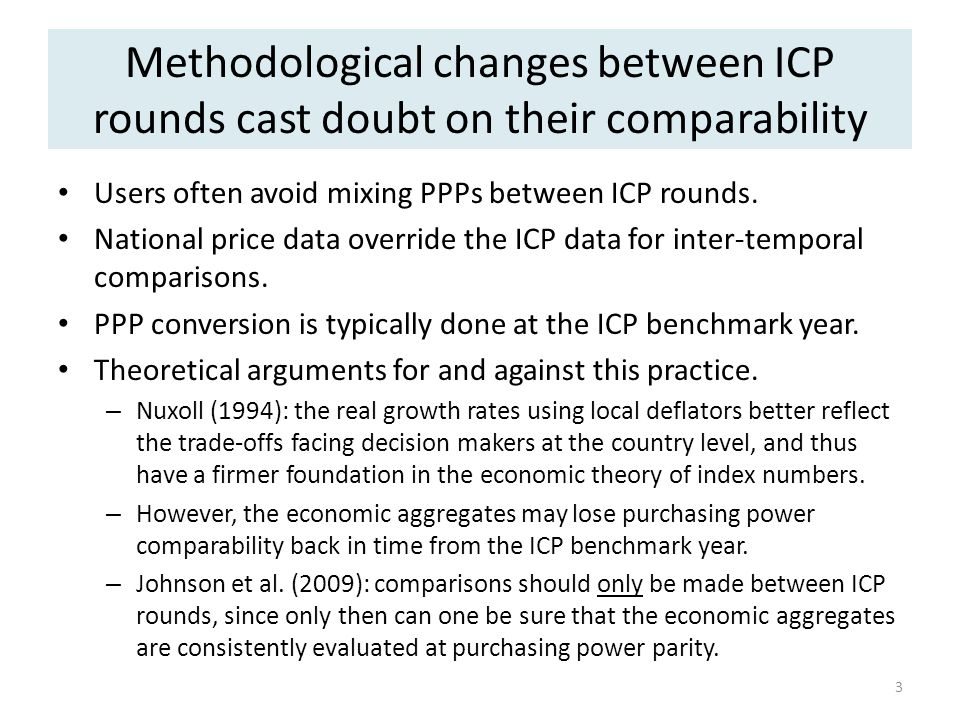 Methodological changes between ICP rounds cast doubt on their comparability Users often avoid mixing PPPs between ICP rounds.