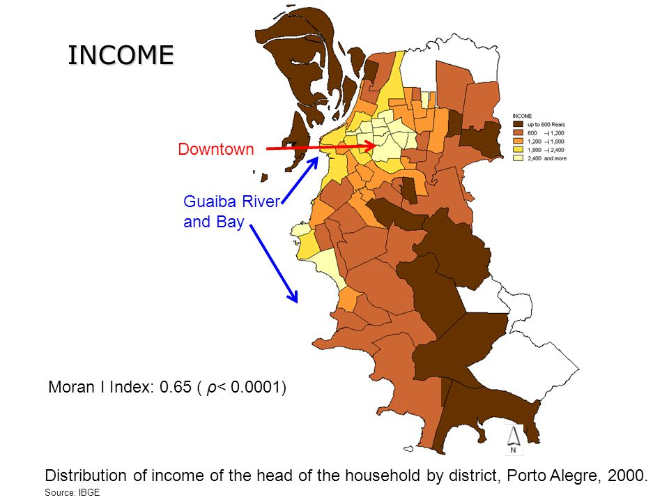 INCOME Moran I Index: 0.65 ( ρ< 0.0001) Distribution of income of the head of the household by district, Porto Alegre, 2000.