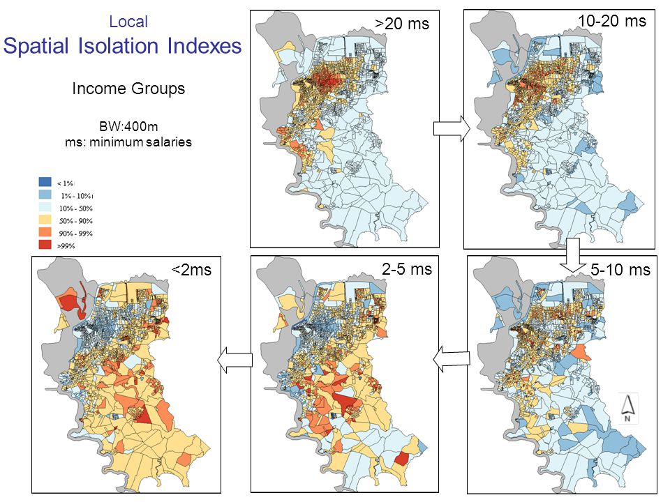 Local Spatial Isolation Indexes Income Groups BW:400m ms: minimum salaries >20 ms 10-20 ms 5-10 ms<2ms 2-5 ms