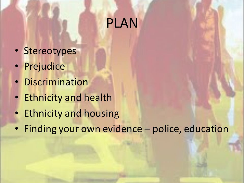PLAN Stereotypes Prejudice Discrimination Ethnicity and health Ethnicity and housing Finding your own evidence – police, education