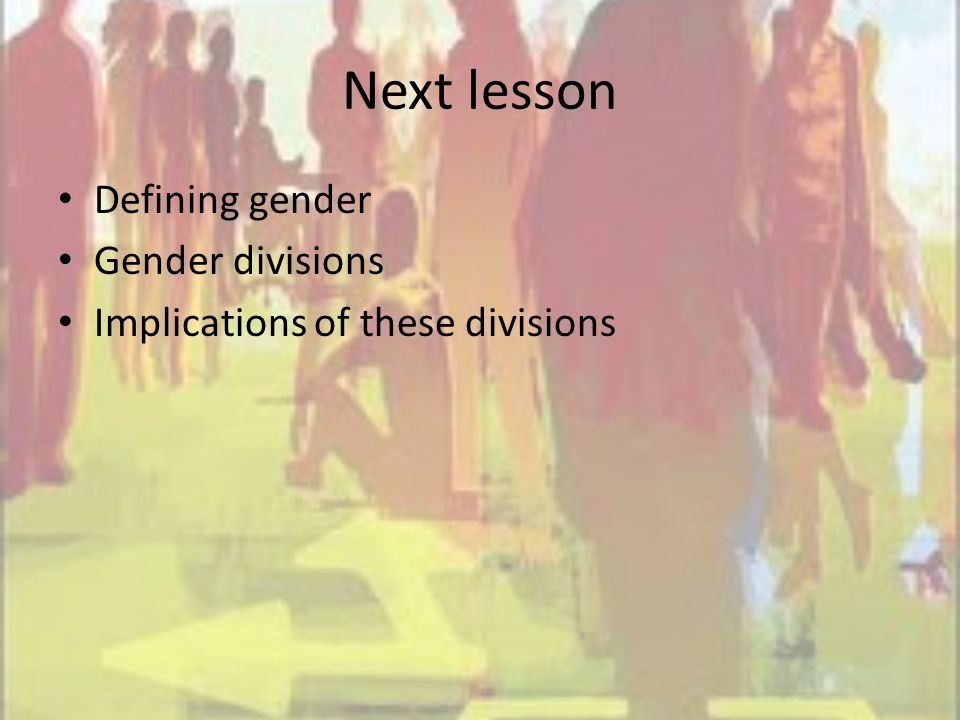 Next lesson Defining gender Gender divisions Implications of these divisions