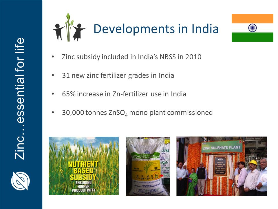 Zinc…essential for life Zinc subsidy included in India's NBSS in 2010 31 new zinc fertilizer grades in India 65% increase in Zn-fertilizer use in India 30,000 tonnes ZnSO 4 mono plant commissioned Developments in India