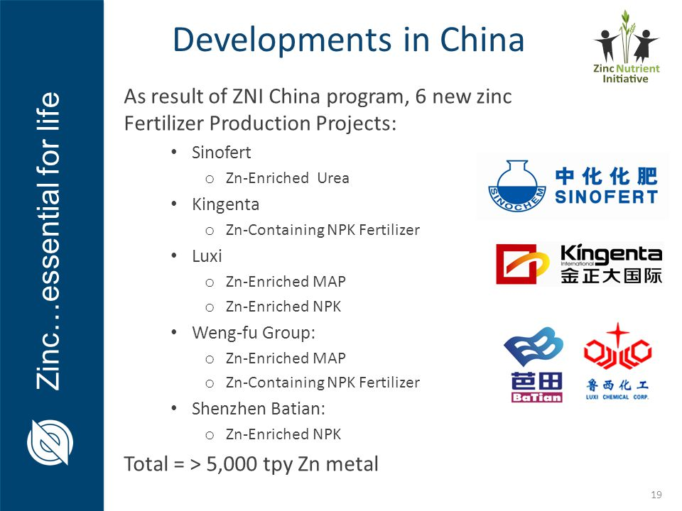 Zinc…essential for life Developments in China 19 As result of ZNI China program, 6 new zinc Fertilizer Production Projects: Sinofert o Zn-Enriched Ure