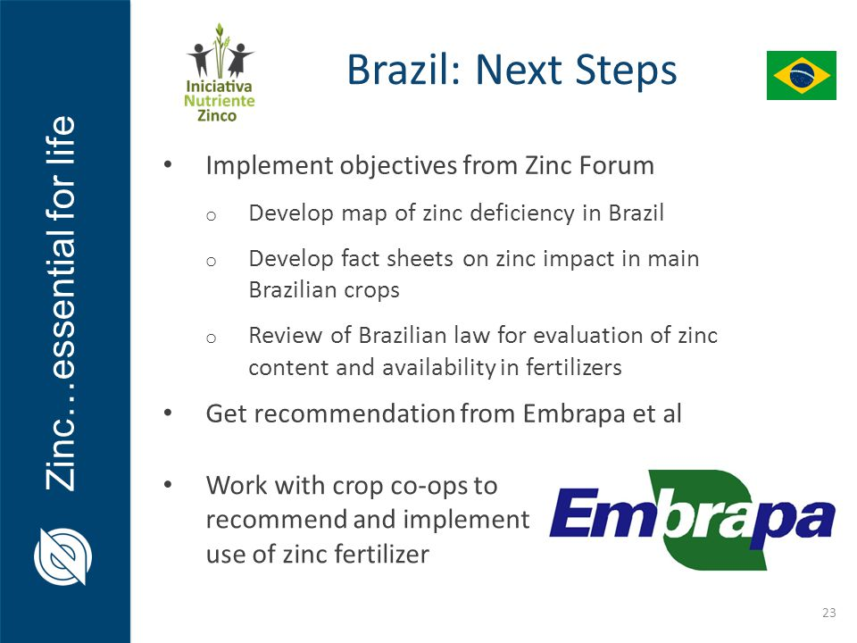 Zinc…essential for life 23 Implement objectives from Zinc Forum o Develop map of zinc deficiency in Brazil o Develop fact sheets on zinc impact in main Brazilian crops o Review of Brazilian law for evaluation of zinc content and availability in fertilizers Get recommendation from Embrapa et al Work with crop co-ops to recommend and implement use of zinc fertilizer Brazil: Next Steps