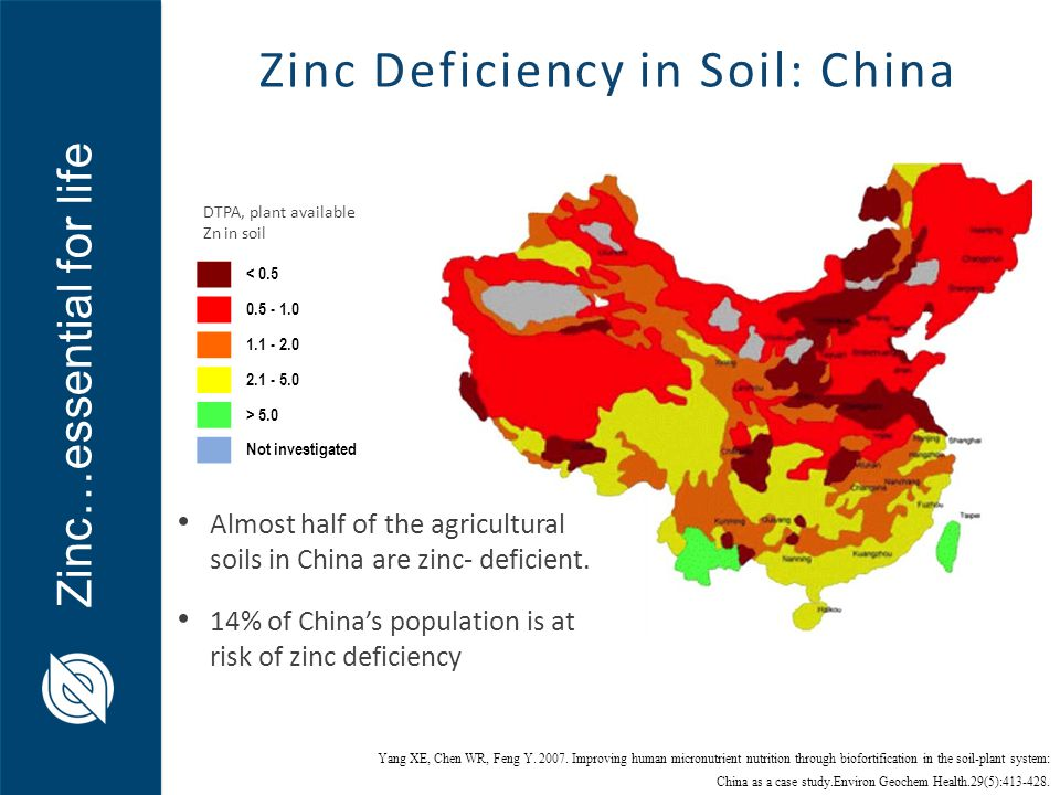Zinc…essential for life < 0.5 0.5 - 1.0 1.1 - 2.0 2.1 - 5.0 > 5.0 Not investigated Almost half of the agricultural soils in China are zinc- deficient.