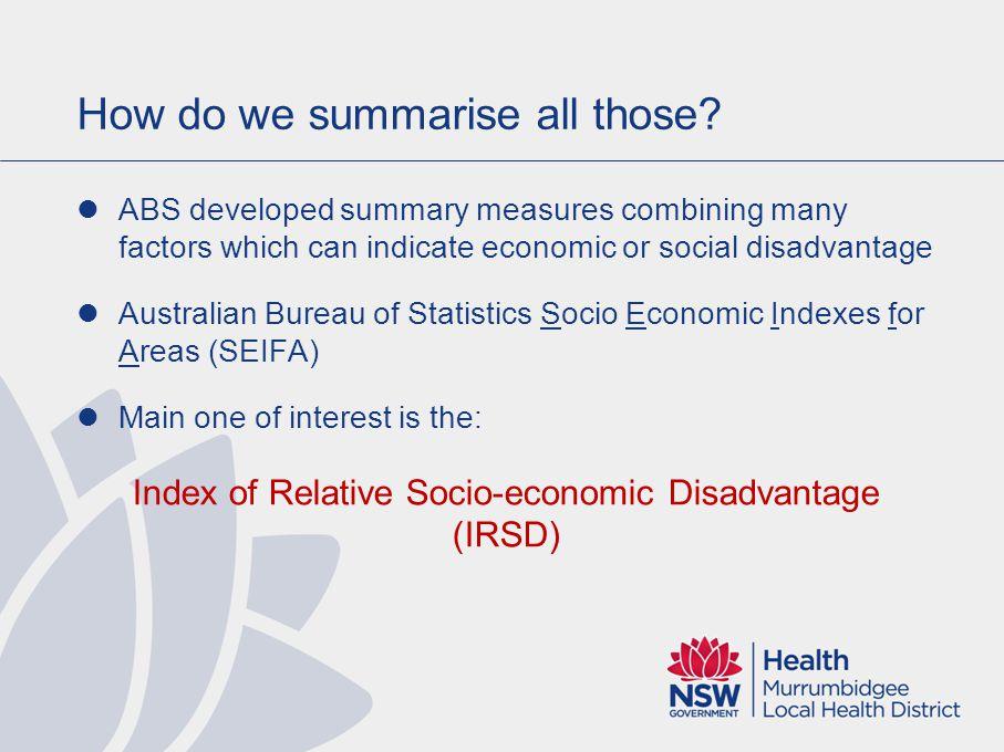 Disadvantage by LGA Most disadvantaged Least disadvantaged