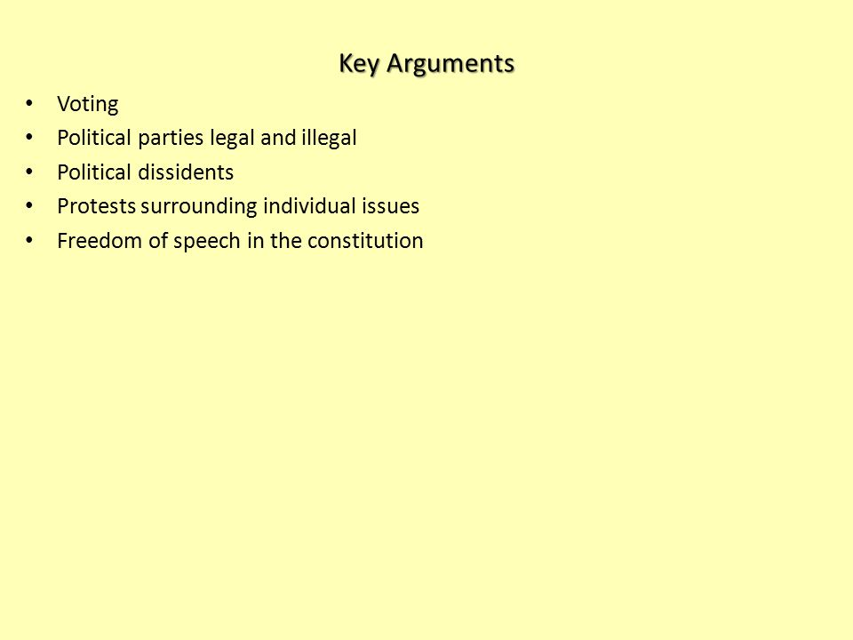 Key Arguments Voting Political parties legal and illegal Political dissidents Protests surrounding individual issues Freedom of speech in the constitution