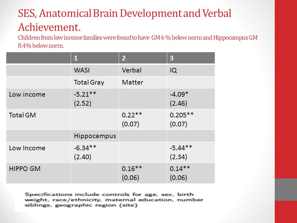 SES, Anatomical Brain Development and Verbal Achievement.