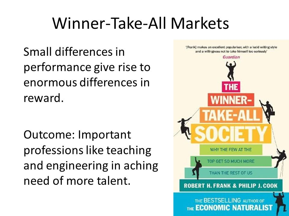Winner-Take-All Markets Small differences in performance give rise to enormous differences in reward. Outcome: Important professions like teaching and