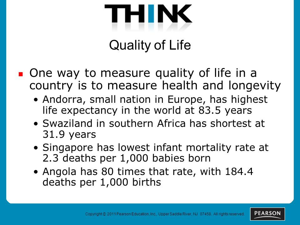 Quality of Life One way to measure quality of life in a country is to measure health and longevity Andorra, small nation in Europe, has highest life expectancy in the world at 83.5 years Swaziland in southern Africa has shortest at 31.9 years Singapore has lowest infant mortality rate at 2.3 deaths per 1,000 babies born Angola has 80 times that rate, with 184.4 deaths per 1,000 births