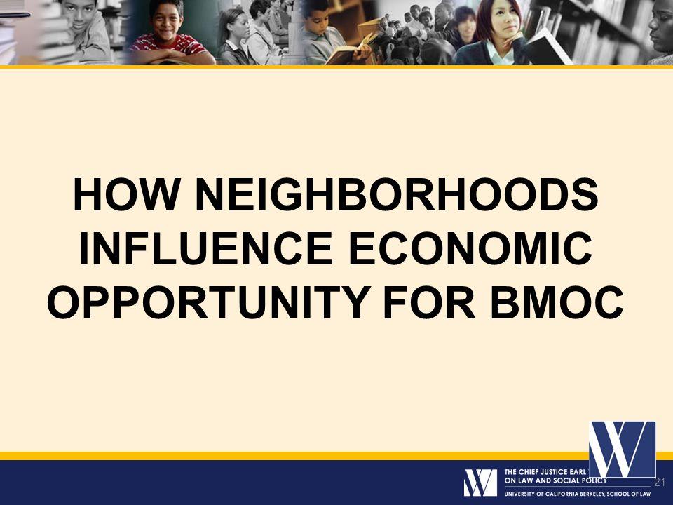 21 HOW NEIGHBORHOODS INFLUENCE ECONOMIC OPPORTUNITY FOR BMOC 21