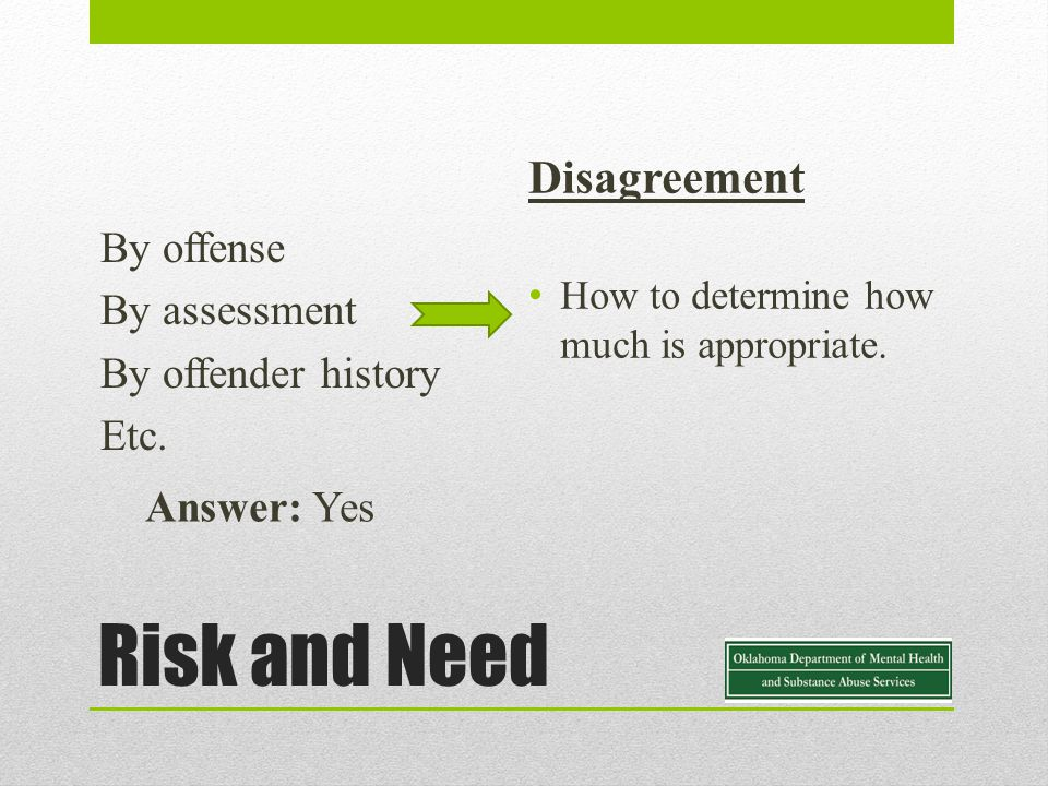 Risk and Need By offense By assessment By offender history Etc.
