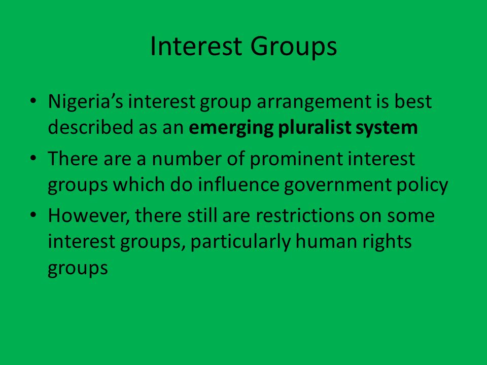 Interest Groups Nigeria's interest group arrangement is best described as an emerging pluralist system There are a number of prominent interest groups which do influence government policy However, there still are restrictions on some interest groups, particularly human rights groups