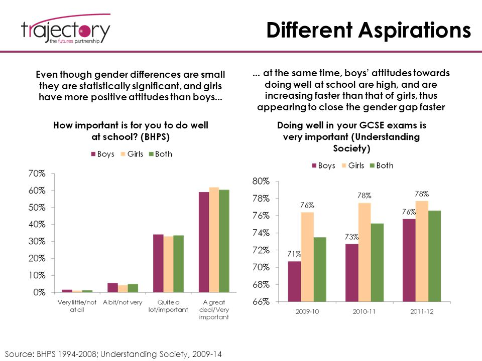 Different Aspirations Even though gender differences are small they are statistically significant, and girls have more positive attitudes than boys...