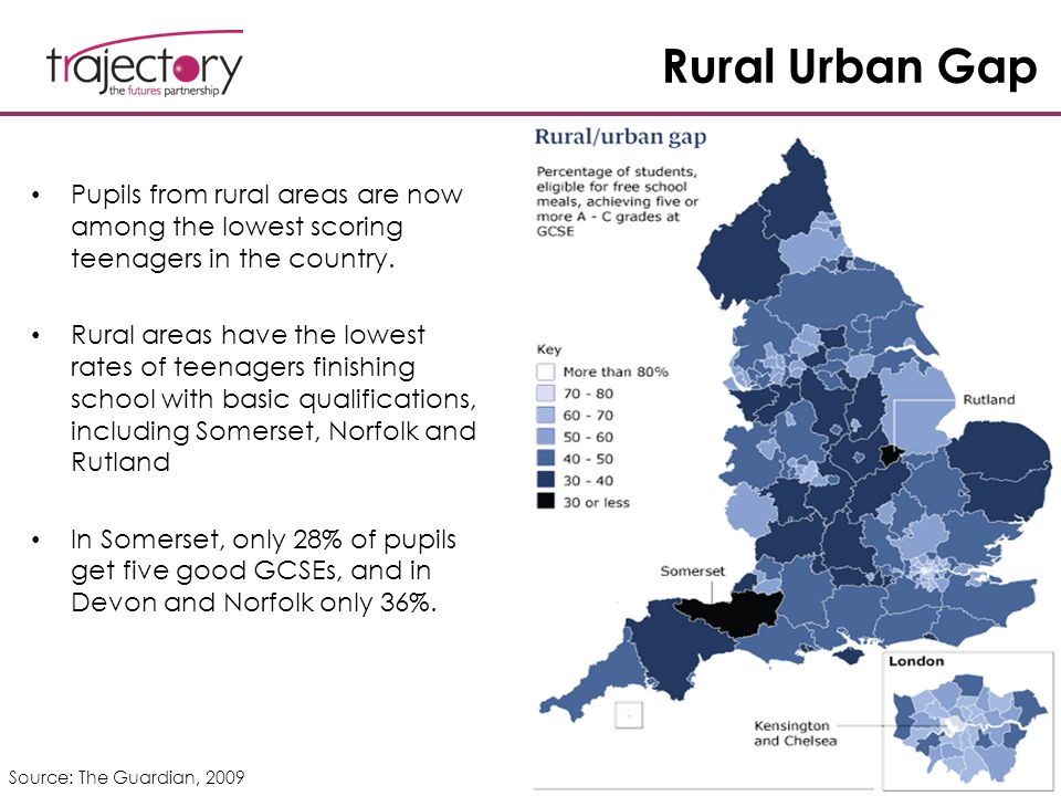 Rural Urban Gap Pupils from rural areas are now among the lowest scoring teenagers in the country. Rural areas have the lowest rates of teenagers fini