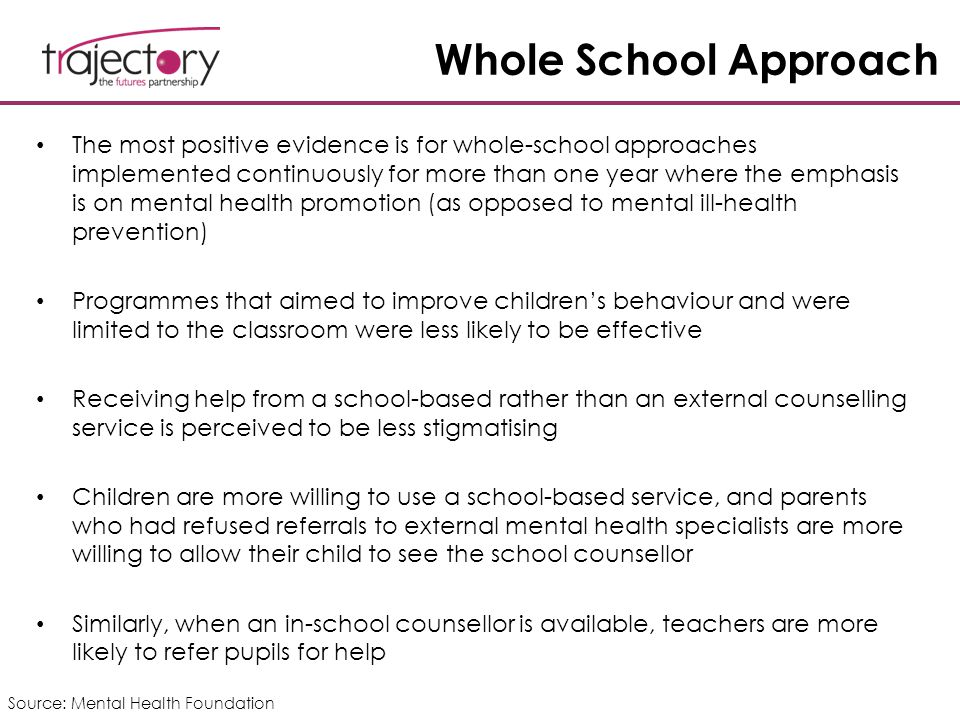 Whole School Approach The most positive evidence is for whole-school approaches implemented continuously for more than one year where the emphasis is