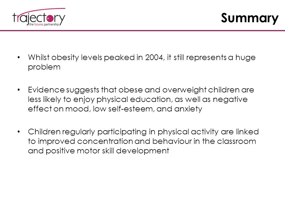 Summary Whilst obesity levels peaked in 2004, it still represents a huge problem Evidence suggests that obese and overweight children are less likely