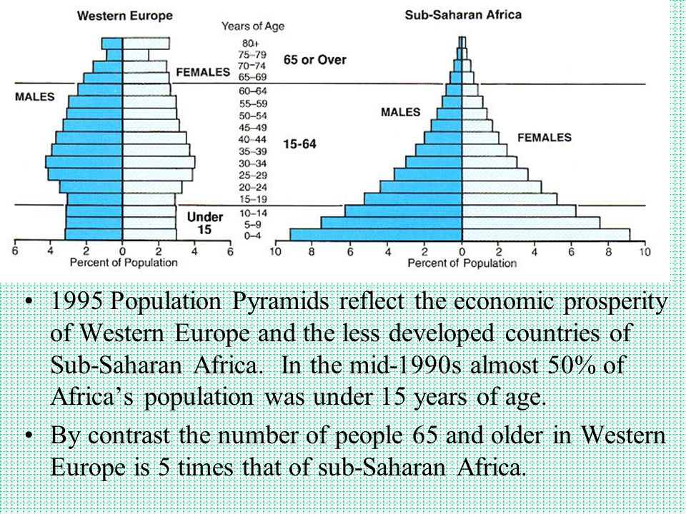 1995 Population Pyramids reflect the economic prosperity of Western Europe and the less developed countries of Sub-Saharan Africa. In the mid-1990s al
