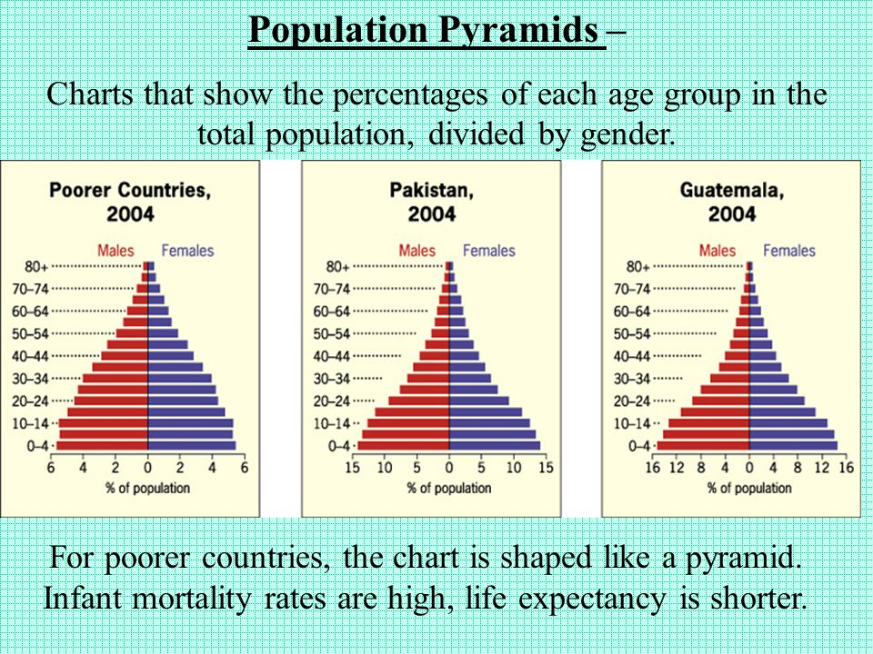 Population Pyramids- display a country's population in a bar graph form.