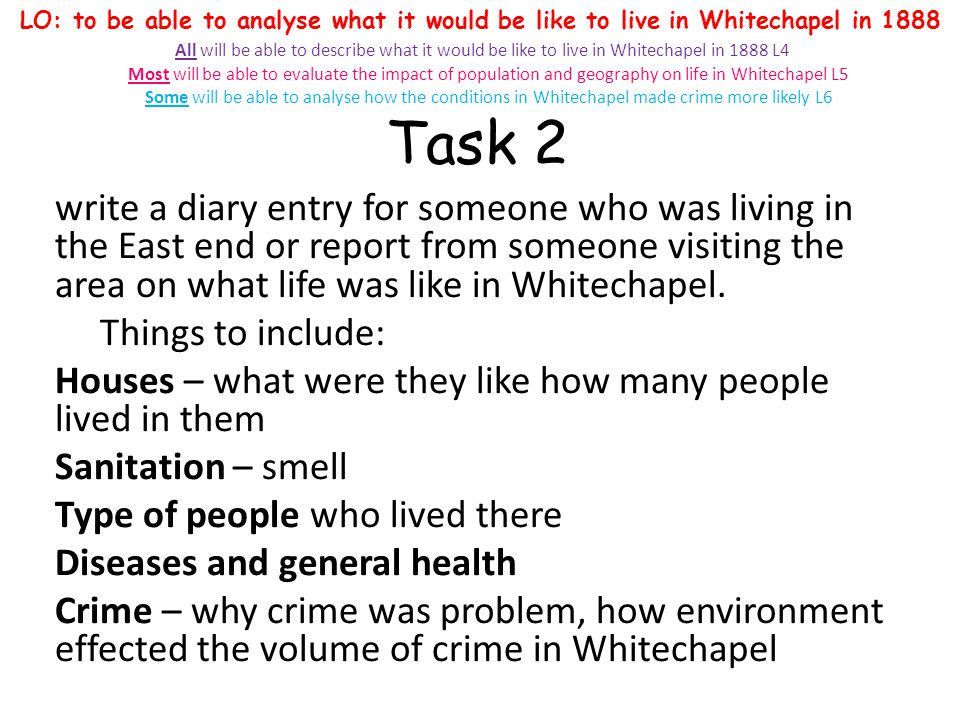 Task 2 write a diary entry for someone who was living in the East end or report from someone visiting the area on what life was like in Whitechapel. T