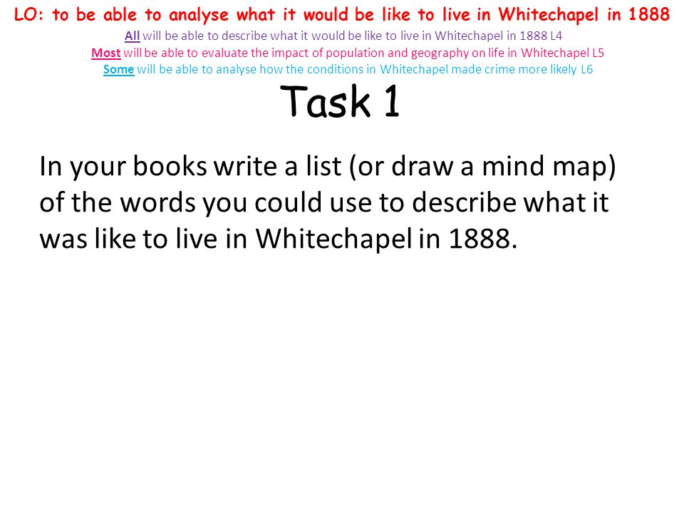 Task 1 In your books write a list (or draw a mind map) of the words you could use to describe what it was like to live in Whitechapel in 1888. LO: to