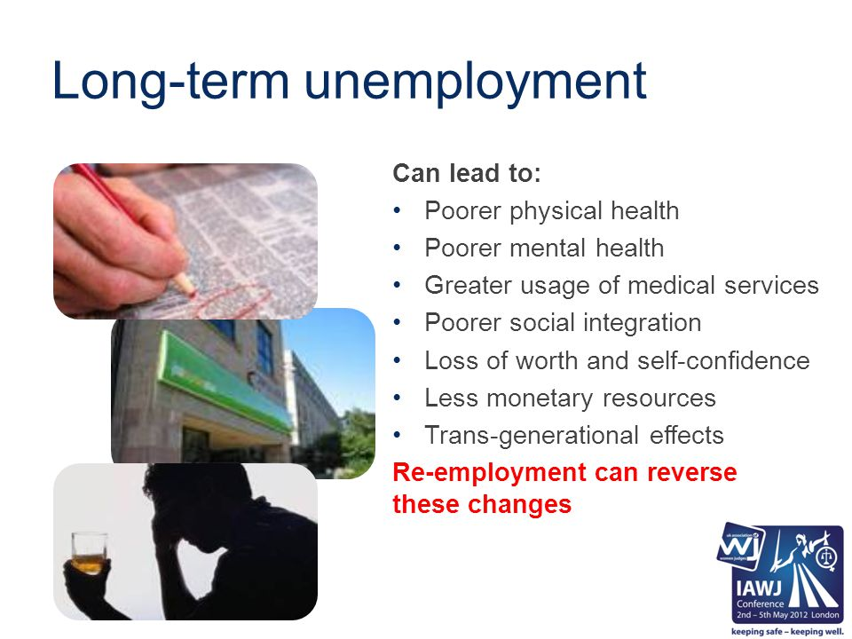 Long-term unemployment Can lead to: Poorer physical health Poorer mental health Greater usage of medical services Poorer social integration Loss of worth and self-confidence Less monetary resources Trans-generational effects Re-employment can reverse these changes