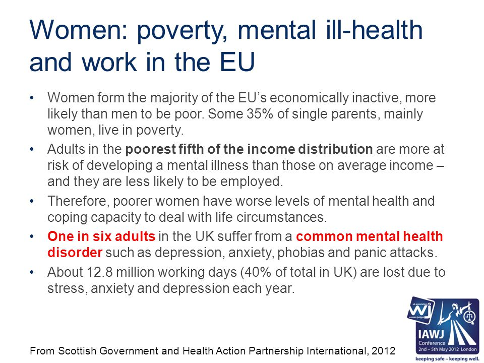 Women: poverty, mental ill-health and work in the EU Women form the majority of the EU's economically inactive, more likely than men to be poor.