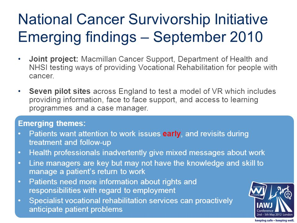 National Cancer Survivorship Initiative Emerging findings – September 2010 Joint project: Macmillan Cancer Support, Department of Health and NHSI testing ways of providing Vocational Rehabilitation for people with cancer.