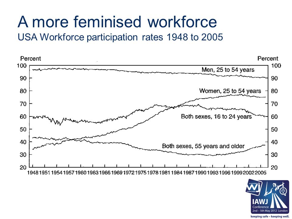 A more feminised workforce USA Workforce participation rates 1948 to 2005