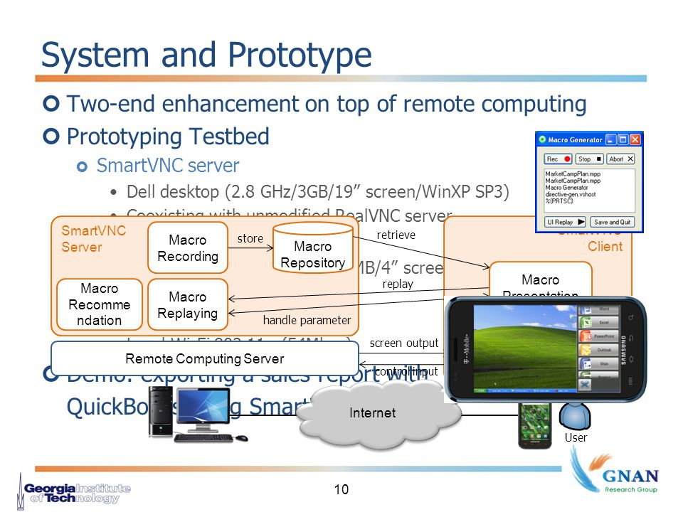 Two-end enhancement on top of remote computing Prototyping Testbed  SmartVNC server Dell desktop (2.8 GHz/3GB/19 screen/WinXP SP3) Coexisting with unmodified RealVNC server  SmartVNC client Samsung Galaxy S (1GHz/512MB/4 screen/Android 2.1) Integrated with AndroidVNC  Access network Local Wi-Fi 802.11g (54Mbps) Demo: exporting a sales report with QuickBooks using SmartVNC System and Prototype 10 SmartVNC Server Macro Recording Macro Repository Macro Replaying Macro Recomme ndation store SmartVNC Client retrieve replay handle parameter Macro Presentation Remote Computing Server screen output control input Internet User Remote Computing Client