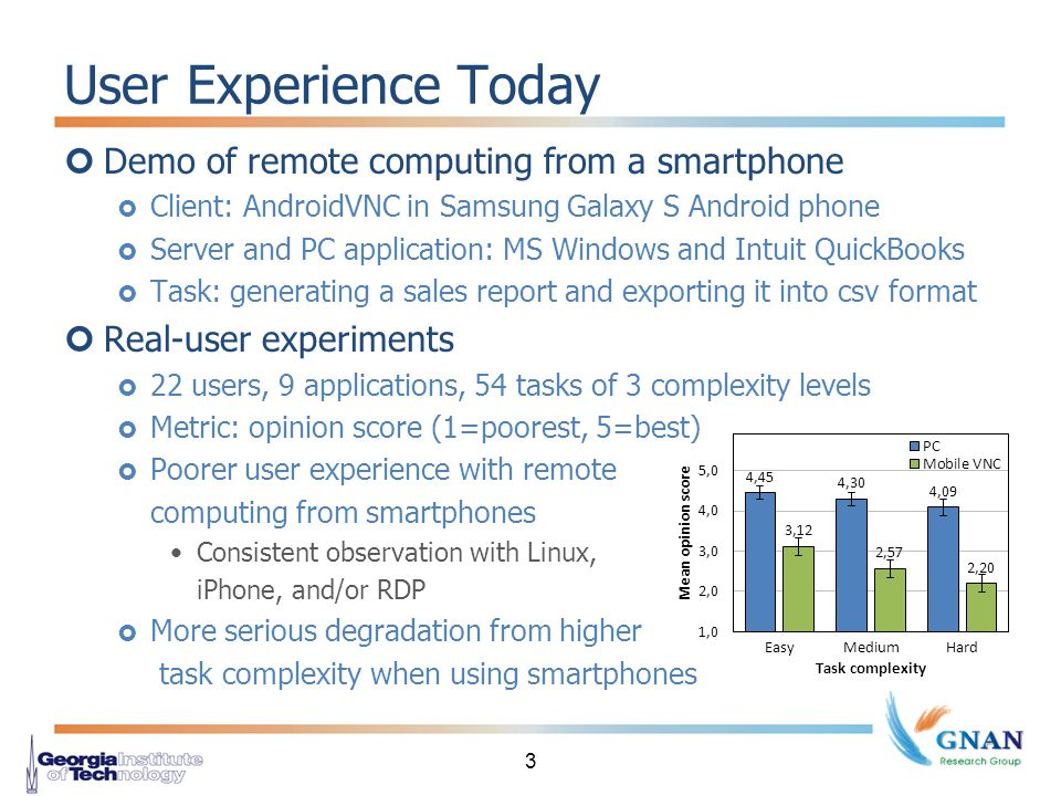 User Experience Today Demo of remote computing from a smartphone  Client: AndroidVNC in Samsung Galaxy S Android phone  Server and PC application: MS Windows and Intuit QuickBooks  Task: generating a sales report and exporting it into csv format Real-user experiments  22 users, 9 applications, 54 tasks of 3 complexity levels  Metric: opinion score (1=poorest, 5=best)  Poorer user experience with remote computing from smartphones Consistent observation with Linux, iPhone, and/or RDP  More serious degradation from higher task complexity when using smartphones 3