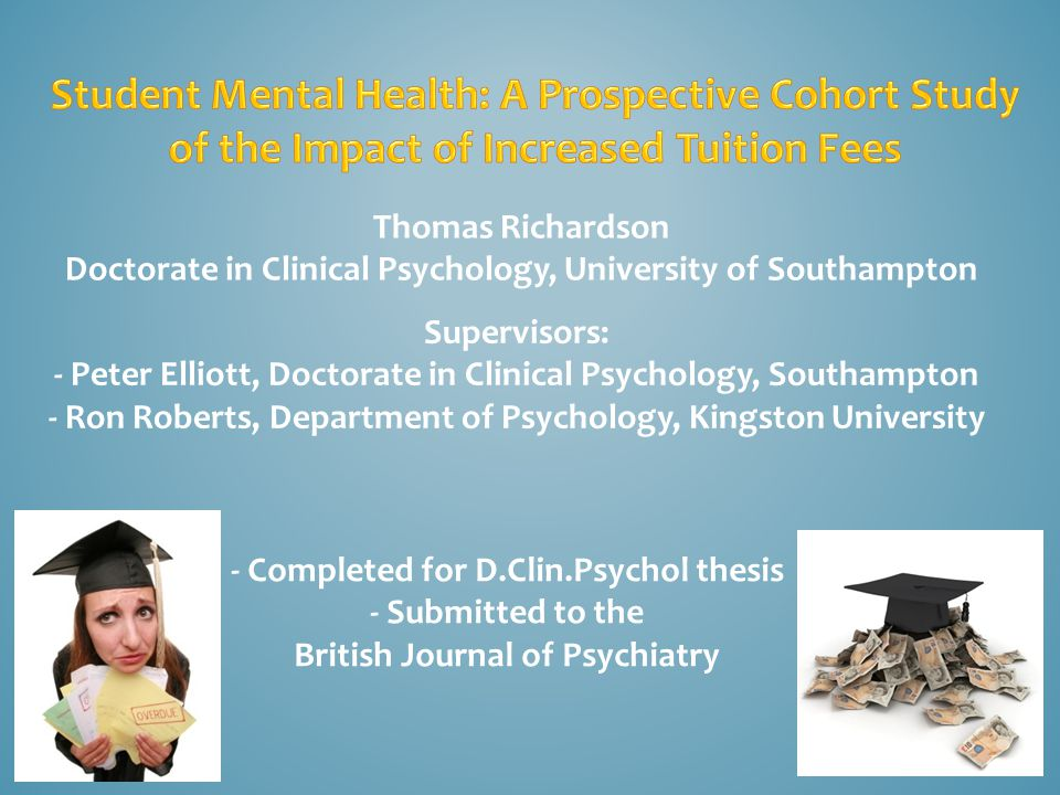 Thomas Richardson Doctorate in Clinical Psychology, University of Southampton - Completed for D.Clin.Psychol thesis - Submitted to the British Journal of Psychiatry Supervisors: - Peter Elliott, Doctorate in Clinical Psychology, Southampton - Ron Roberts, Department of Psychology, Kingston University
