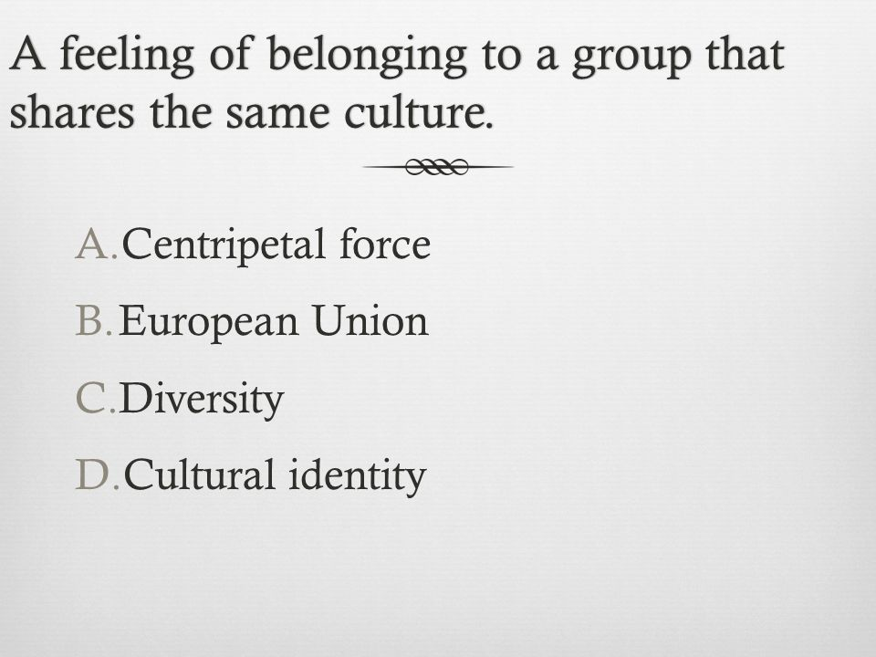 A feeling of belonging to a group that shares the same culture.